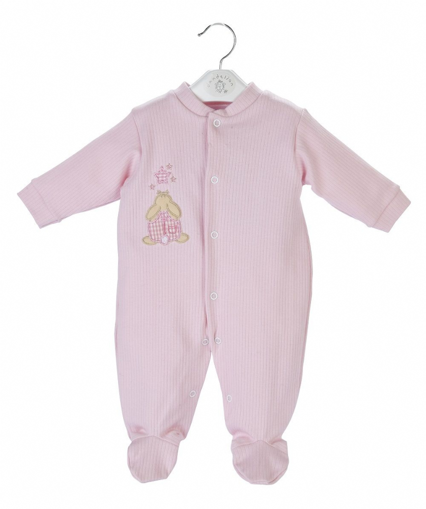 A20355 Rabbit & Star Ribbed Sleepsuit pink